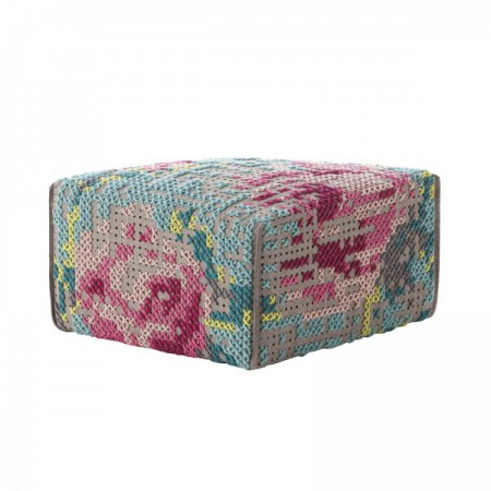 Pouf Flowers Color Square