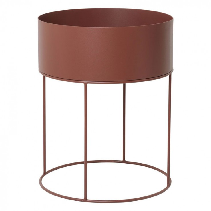 Plant  Box Round Red Brown ER