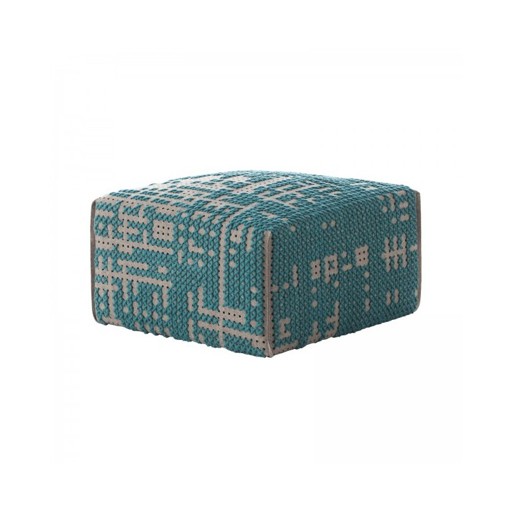 Pouf Canevas Square Abstract Verde
