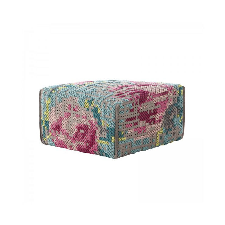 Pouf Canevas Square Flowers Color