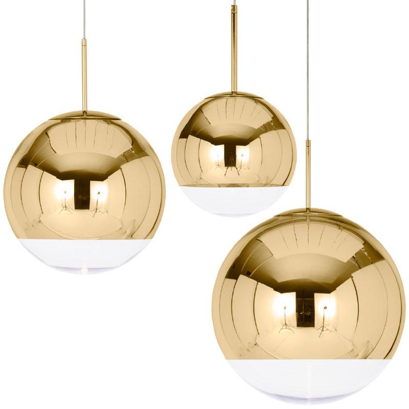 Lámpara Mirror Ball Gold Pendant
