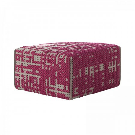 Pouf Canevas Square Abstract Rosa