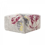 Pouf Canevas Square Flowers Natural