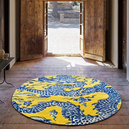 Alfombra blue china amarillo for Alfombras chinas