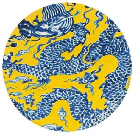 Blue China Rug Yellow