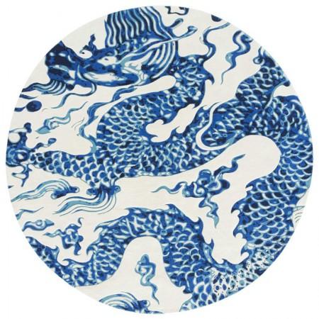 Blue China Rug White