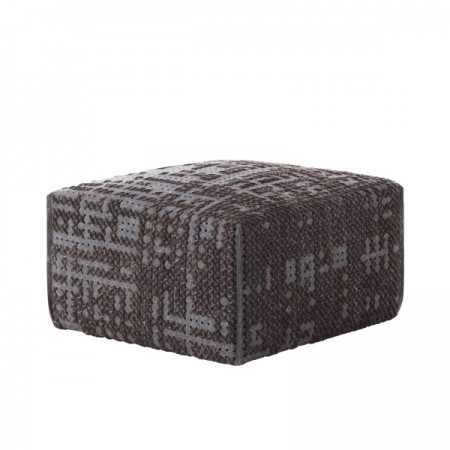 Canevas Square Abstract Charcoal Pouf