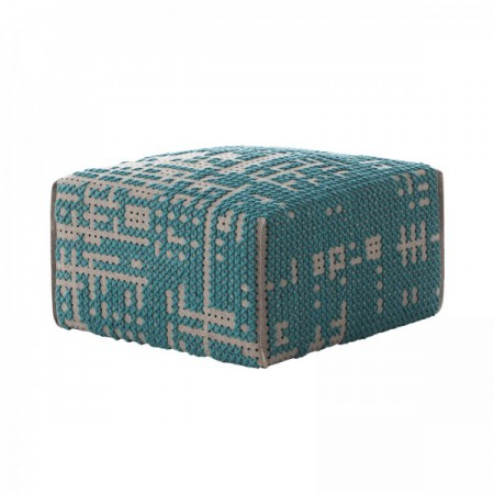 Canevas Square Abstract Green Pouf